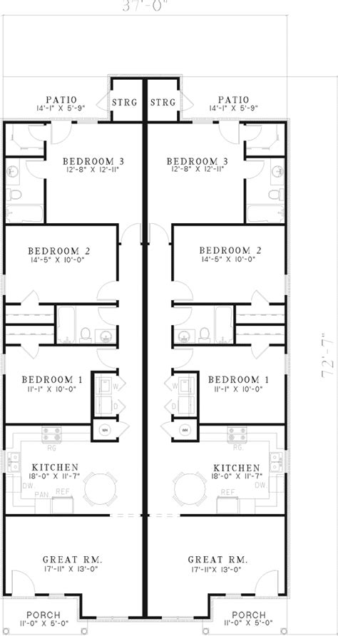 duplex floor plans for narrow lots duplex plan harris ridge home house plans and more floor