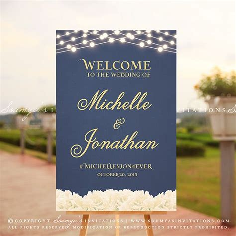 Wedding Welcome Sign by Navy Blue And Gold Wedding Welcome Sign Peony Flowers