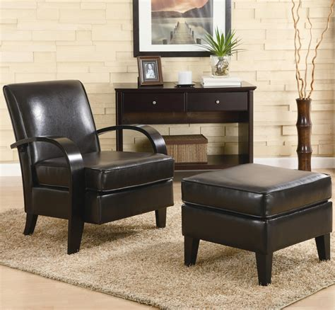 Leather Accent Chairs With Ottoman Bentwood Brown Leather Accent Chair With Storage Ottoman By Coaster 900242