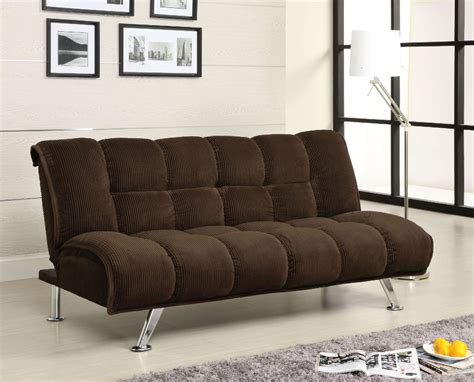 Sofa Bed Legs by Maybelle Chocolate Corduroy Futon Sofa Bed W Chrome Legs