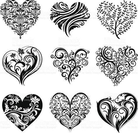 heart pattern tattoo tatouage coeur stock vecteur libres de droits 164315265
