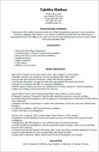 Sle Resume For Business Development Analyst Compliance Analyst Resume Sle Professional Aml Analyst