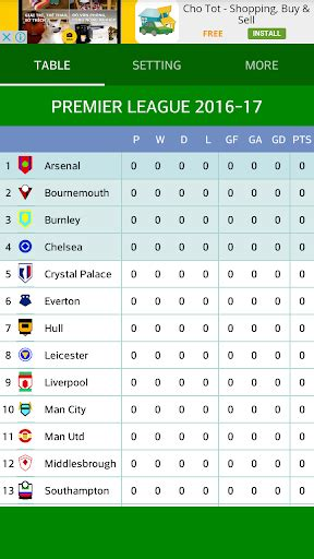 epl table result 2016 17 download premier league table 2016 17 google play