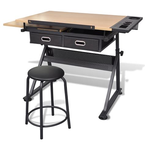 Drafting Table Uk Vidaxl Co Uk Two Drawers Tiltable Tabletop Drawing Table With Stool