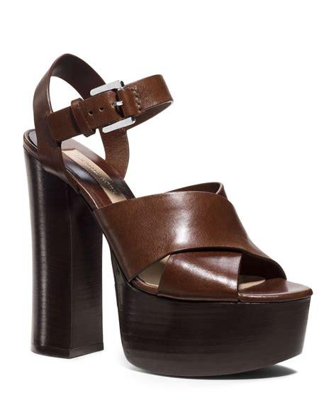 michael kors platform sandal michael kors crista leather platform sandal in brown