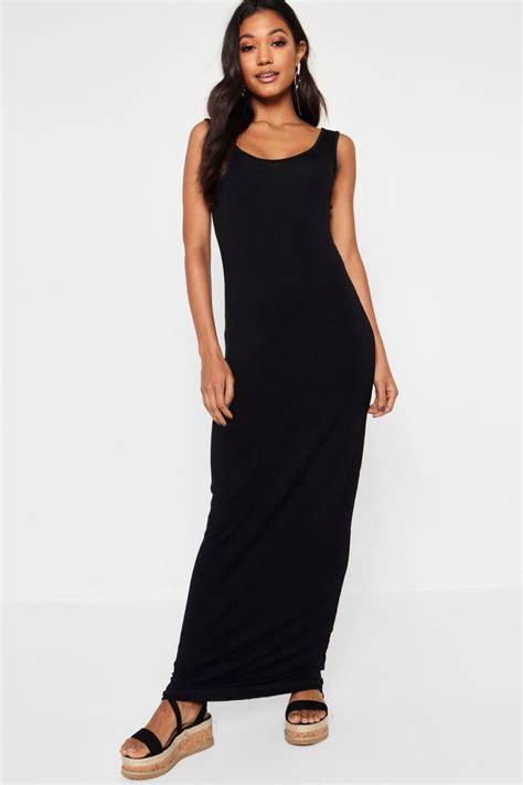 Maxi Aisyah Black 1 boohoo womens scoop neck maxi length sleeveless dress mxd2 bwmd1 ebay