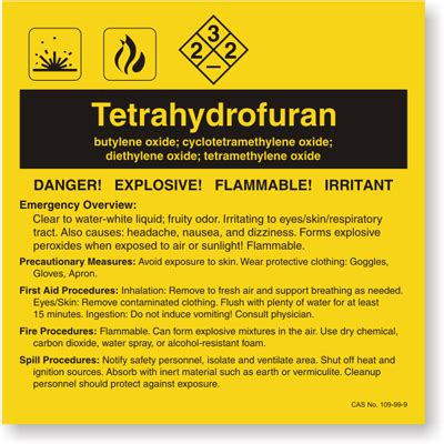 Tetrahydrofuran Ansi Chemical Label Sku Lb 1584 122