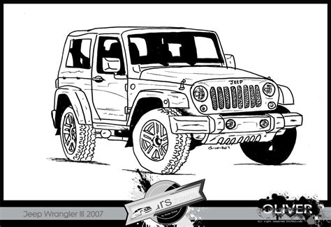 Jeep Wrangler Drawing Cars Drawing Jeep Wrangler Iii 2007 By Theartsoliver On