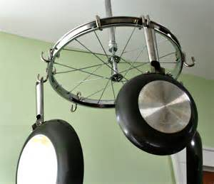 bicycle wheel as pot and pan hanger projects crafts
