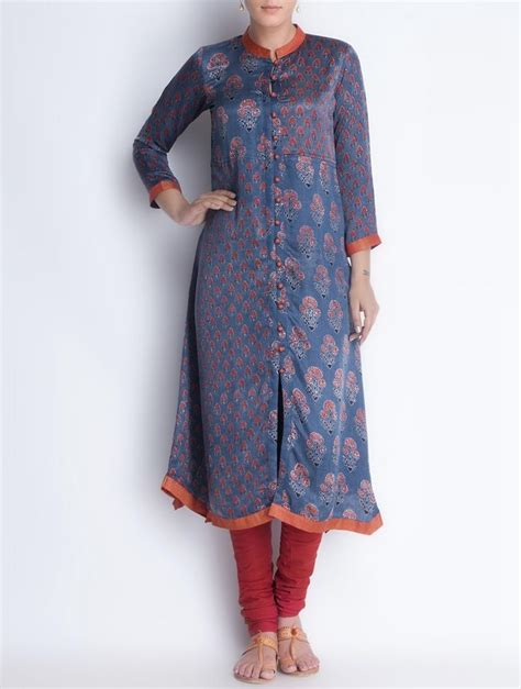button pattern kurti buy indigo red button down vegetable printed gajji silk