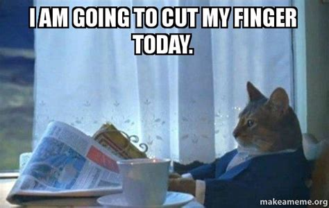 Middle Finger Cat Meme - i am going to cut my finger today sophisticated cat