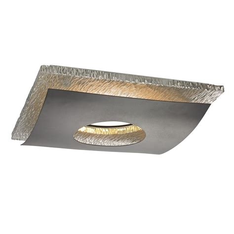 Hammered Chrome Decorative Square Ceiling Trim For Inset Ceiling Lights