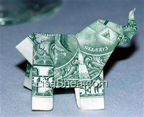 Elephant Money Origami - money origami elephant 171 embroidery origami