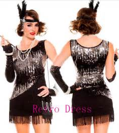 Flapper Costume Halloween Costumes For Women 1920s Roaring 20s Black Sequined Dress Flapper Costume Charleston