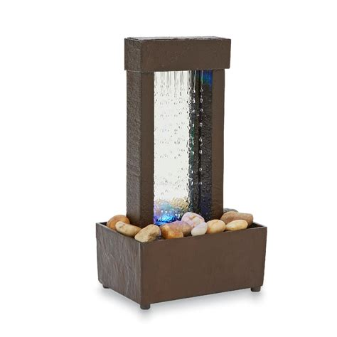indoor water fountain desktop waterfall table led light