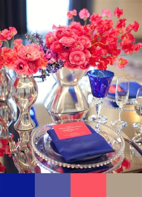 hot pink and royal blue wedding flowers   Google Search