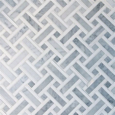 Basket Weave Carrara Marble Mosaic Tile, 10 sheets
