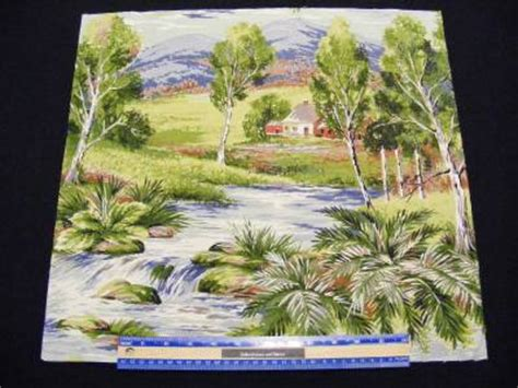 Landscape Fabric Panels Country Landscape Cottage Bark Cloth Fabric Panel