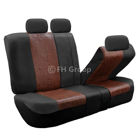 brown leather car seat covers faux leather brown black car seat cover set headrests