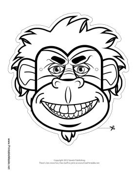 printable gorilla mask free ape mask coloring coloring pages