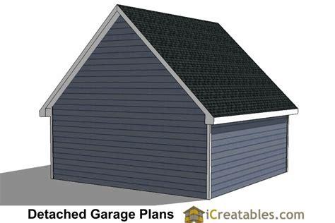 22x22 2 car 2 door detached garage eve over door plans shed roof shop plans