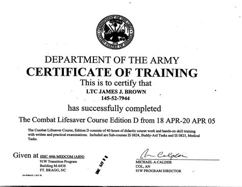 combat lifesaver certificate template wall of fame j brown
