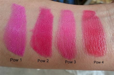 Lipstik Maybelline Pink Alert swatches and preview maybelline pink alert lipsticks pow1 pow2 pow3 pow4