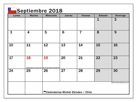 Chile Calend 2018 Calendario Para Imprimir Septiembre 2018 D 237 As Feriados