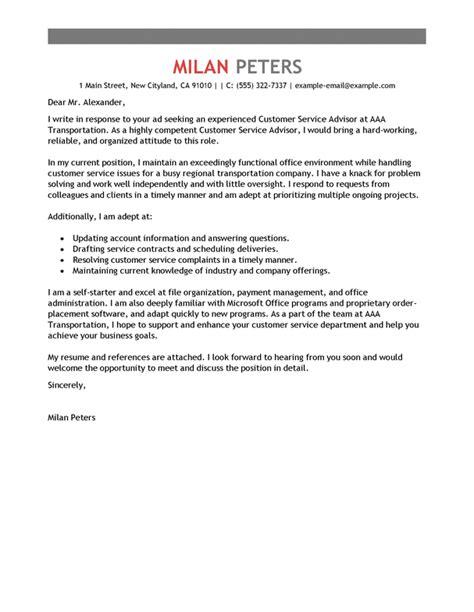 Transportation Expert Cover Letter by Best Transportation Customer Service Advisor Cover Letter Exles Livecareer