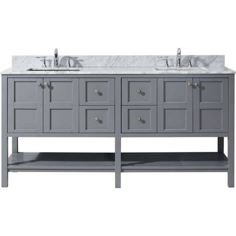 virtu usa huntshire 72 quot virtu usa winterfell 72 in w x 22 in d vanity in grey with marble vanity top in white with