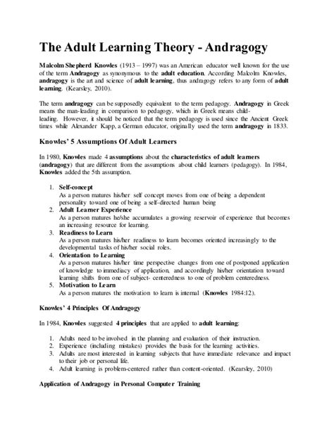 Andragogy Learning Theory Mba by M Ed Eduction S Topic Differentiate Between