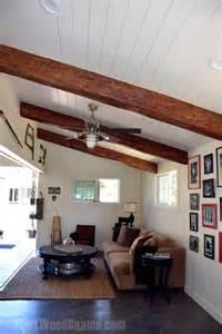 Garage Work Shop vaulted ceilings with exposed beams faux wood workshop