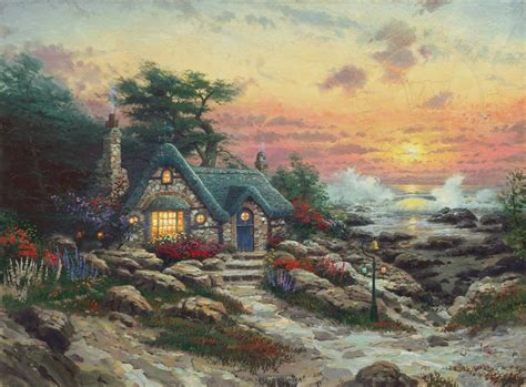 cottage paintings by kinkade cottage by the sea the kinkade company