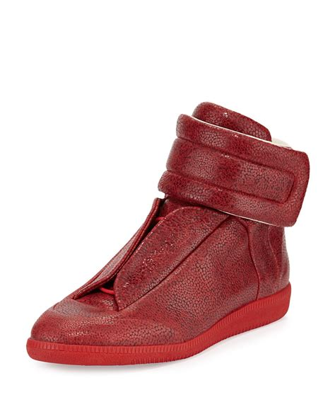 sneaker cover maison margiela future printed leather high top sneaker in