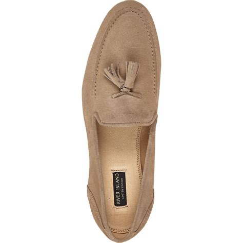 mens beige loafers river island suede tassel loafers in beige for
