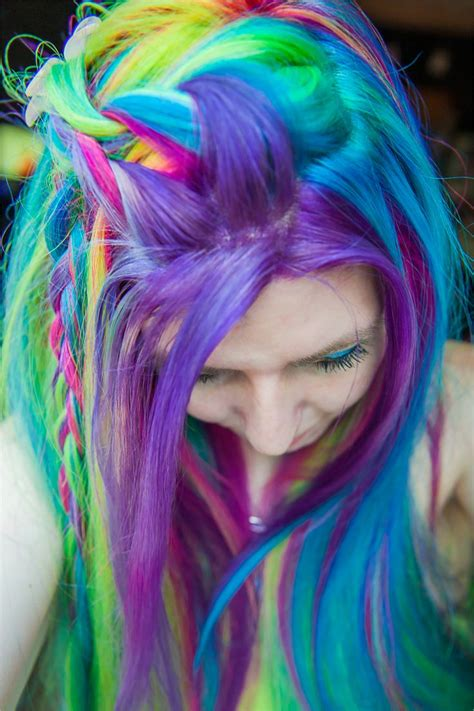 Rainbow Color Hair Ideas | rainbow hair colors and braided hairstyles best hair