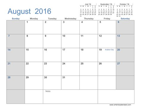 2016 Calendar August Image Gallery Month Of August 2016 Calendar