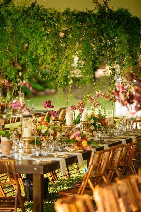 wedding reception lush foliage ceiling decoration