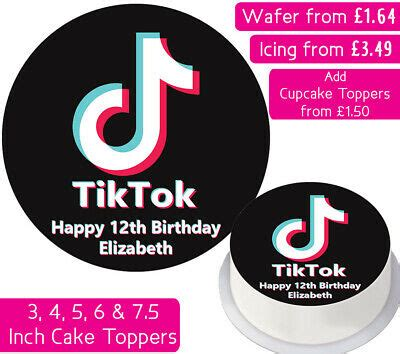 tiktok edible wafer icing personalised cake toppers