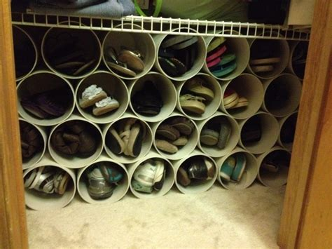 shoe rack pvc pipe diy shoe rack made out of 6 quot pvc pipe cut each piece 11 quot to 12 quot inches long depending on your