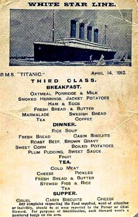 titanic third class menu the titanic more than 100 years later fascinating new