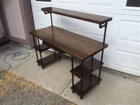 wood and pipe desk made pipe wood studio desk by ks custom finish
