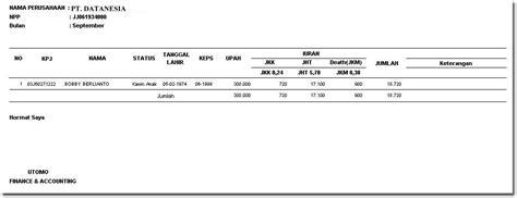 contoh slip gaji karyawan laporan payroll