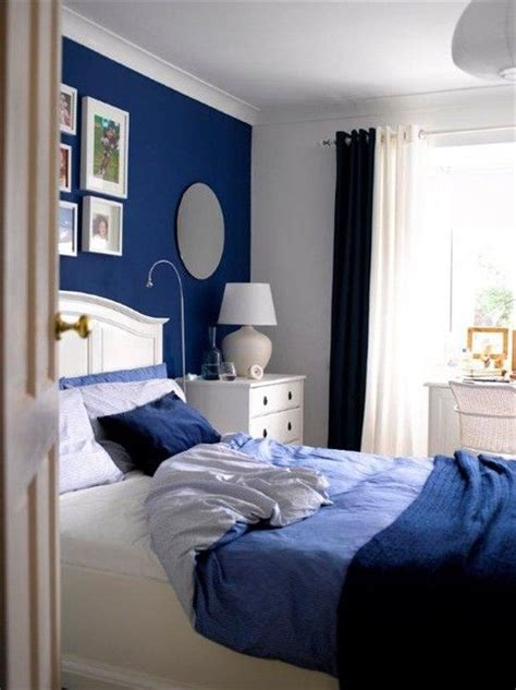 Master Bedroom Accent Wall Honest Blue Bedroom Just One Blue Wall With Blue Bedding And