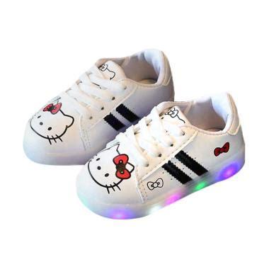Sepatu Led Shoes Anak Perempuan Anak Cewek jual fashion walker led hello sepatu anak perempuan hitam putih harga
