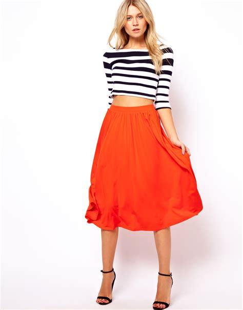 orange midi skirt dress