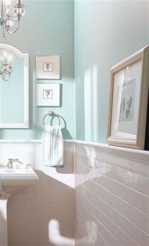 bathroom with tile walls subway tile half wall blue inspiration for the bathroom