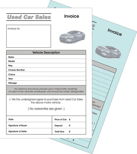 used car invoice template 2 x used car sale invoice duplicate ncr pads ebay
