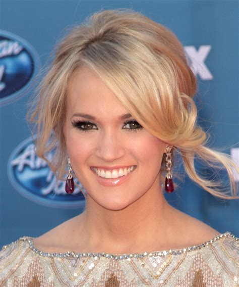 front view of side swept hairstyles carrie underwood updo long curly formal updo hairstyle