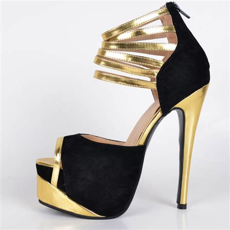 Heels Black List Gold high heels shoes fs heel